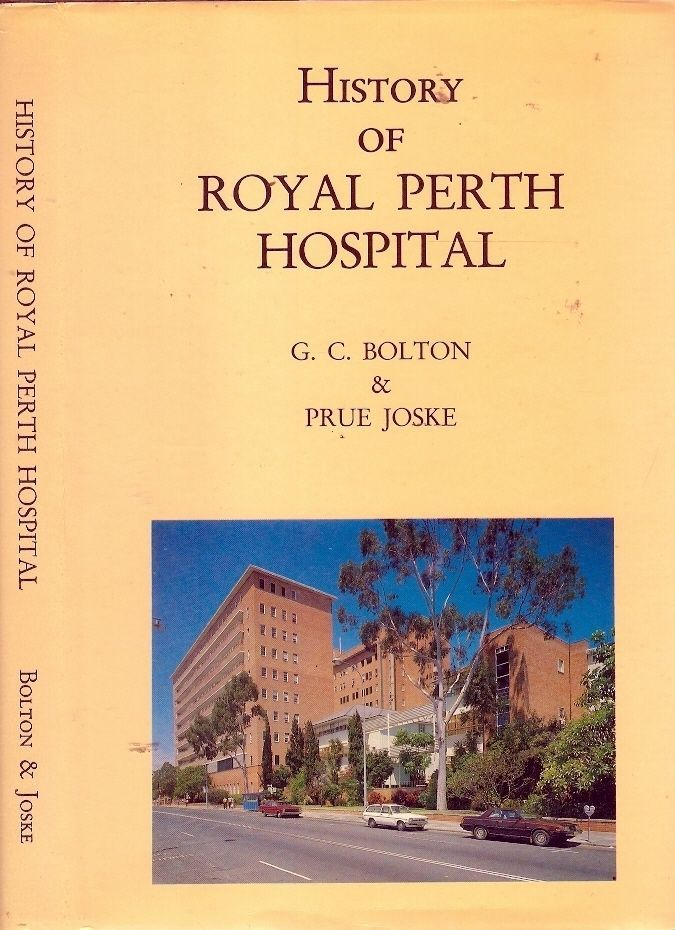 HISTORY of ROYAL PERTH HOSPITAL. The Swan River Colony and it's colonial hospital were founded by the British in 1829. They celebrated their joint 150th anniversary in 1979 as the State of Western Australia and the Royal Perth Hospital. This book traces the history of Perth's leading teaching and research medical institution from the leaky tent which served the first colonial surgeon as both office and home, to the present multi-storied building.