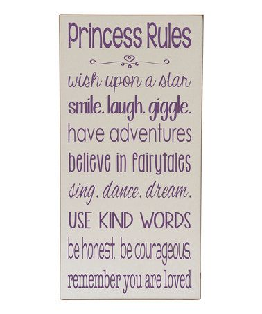 Love this Cream & Purple 'Princess Rules' Wall Sign by Vinyl Crafts on #zulily! #zulilyfinds