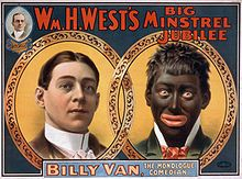 This seems like a classic Minstel picture. The skin is very dark with large red lips and stark whites of the eyes. Also the contrast between the black and white men is noticeable.
