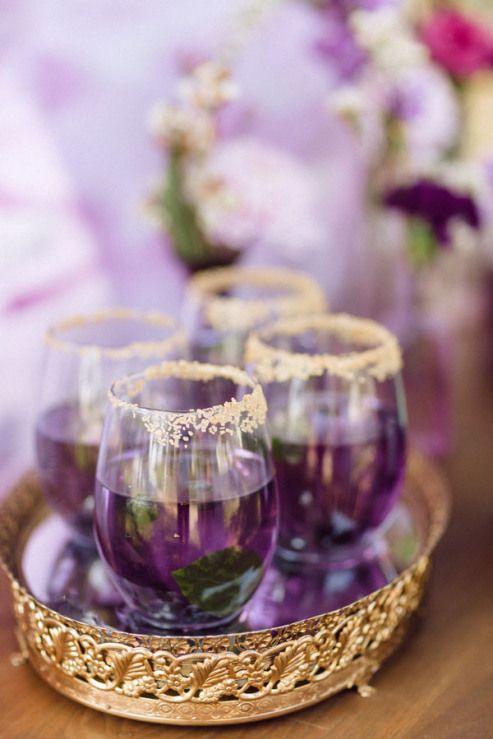 Gorgeous cocktails for a purple rain bridal shower or wedding!
