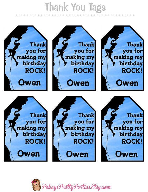 Boys ROCKWALL Birthday Party Thank You Tags by PokeysPrettyParties