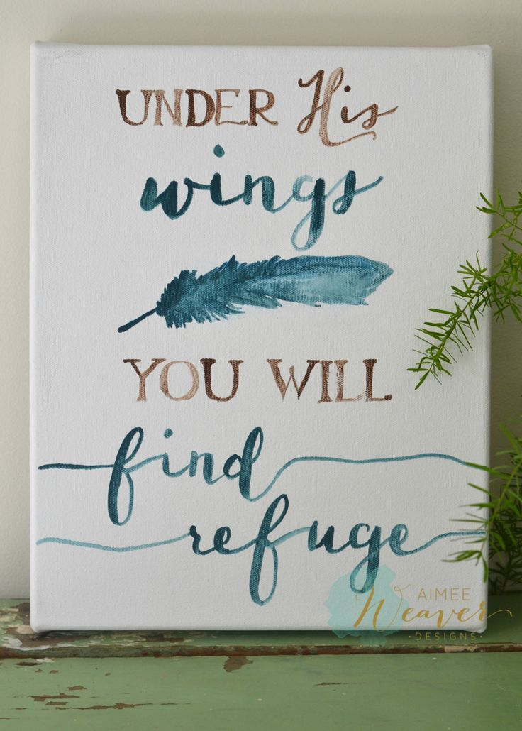 Under His wings you will find refuge | canvas artwork by Aimee Weaver Designs