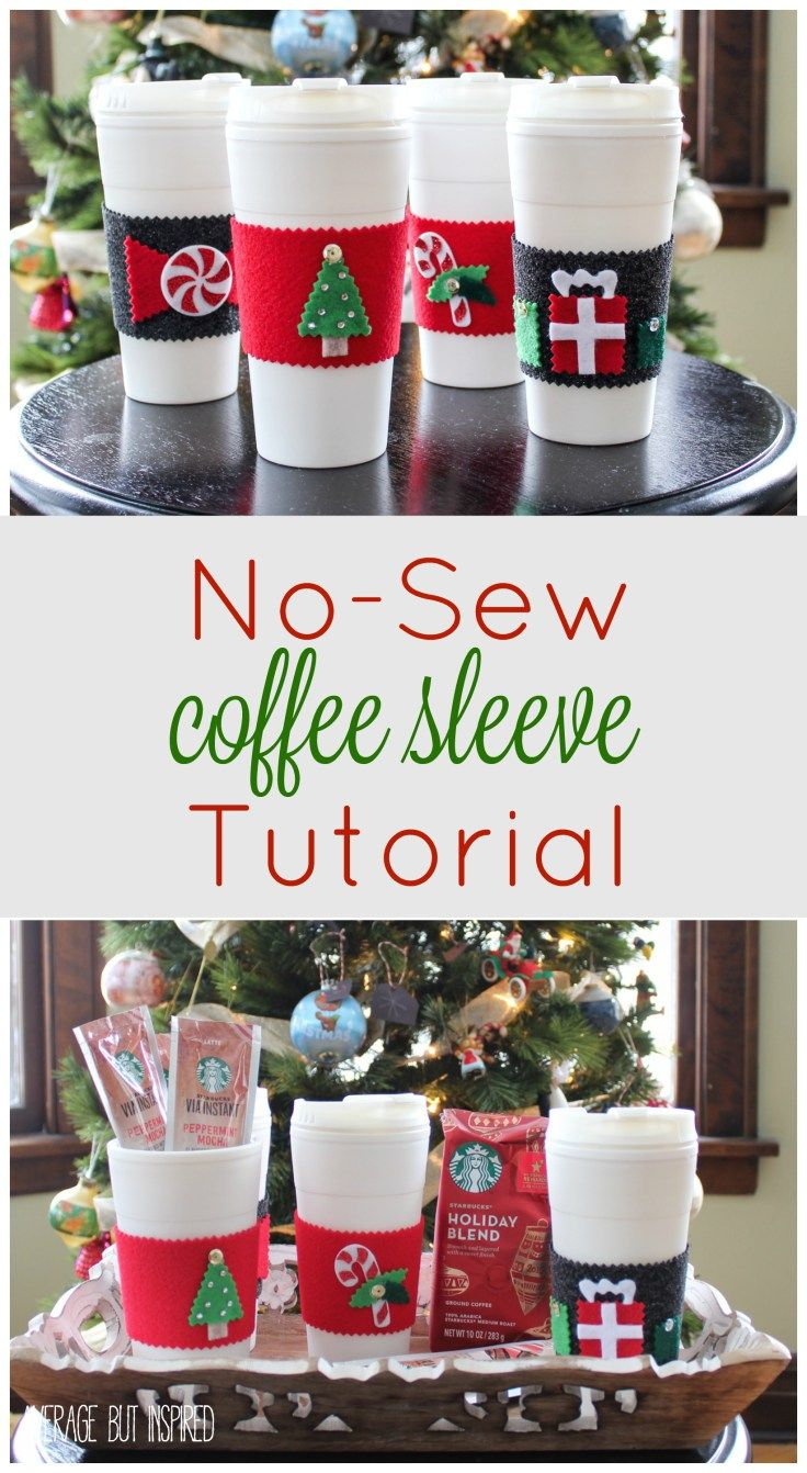 No-sew coffee sleeves are a wonderful gift for anyone on your list! This easy tutorial will help you make them in no time.  Pair them with beverages from @starbucks and you have a wonderfully delicious gift!  #MakeItMerrier #holidays #ad