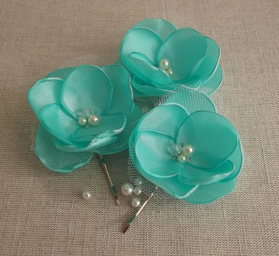 Mint Pale Green fabric Flowers Orchids Bridal Bridesmaids Hair Clip Dress Sash Ornament Flower Girls Gift Alligator Clip Weddings Handmade on Etsy, $19.00