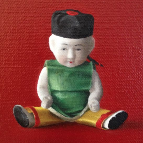 Chinese porcelaine doll, oil on canvas by Patty van Loon