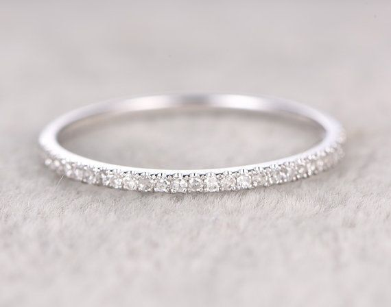 Thin designDiamond Wedding RingSolid 14K White by popRing on Etsy