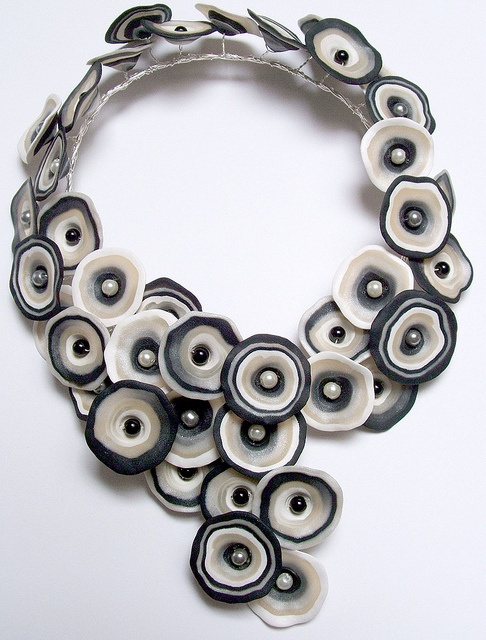 Necklace   Melody Tallon. Polymer clay and glass pearls set on to a wire base.