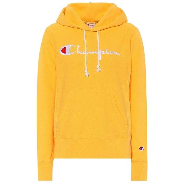 Champion Cotton Hoodie ($130) ❤ liked on Polyvore featuring tops, hoodies, yellow, champion hoodie, hoodie top, cotton hooded sweatshirt, yellow top and yellow hoodie