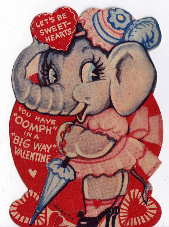 Vintage 1920's Let's Be Sweet Hearts Elephant by poshtottydesignz
