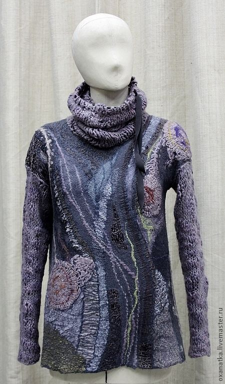 Купить Валяный свитер Сиреневый туман - серый, валяние из шерсти, валяный свитер