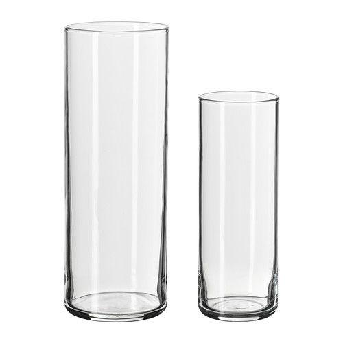 CYLINDER Vase sæt med 2 IKEA Kan stå inden i hinanden og sparer plads, når de ikke er i brug.