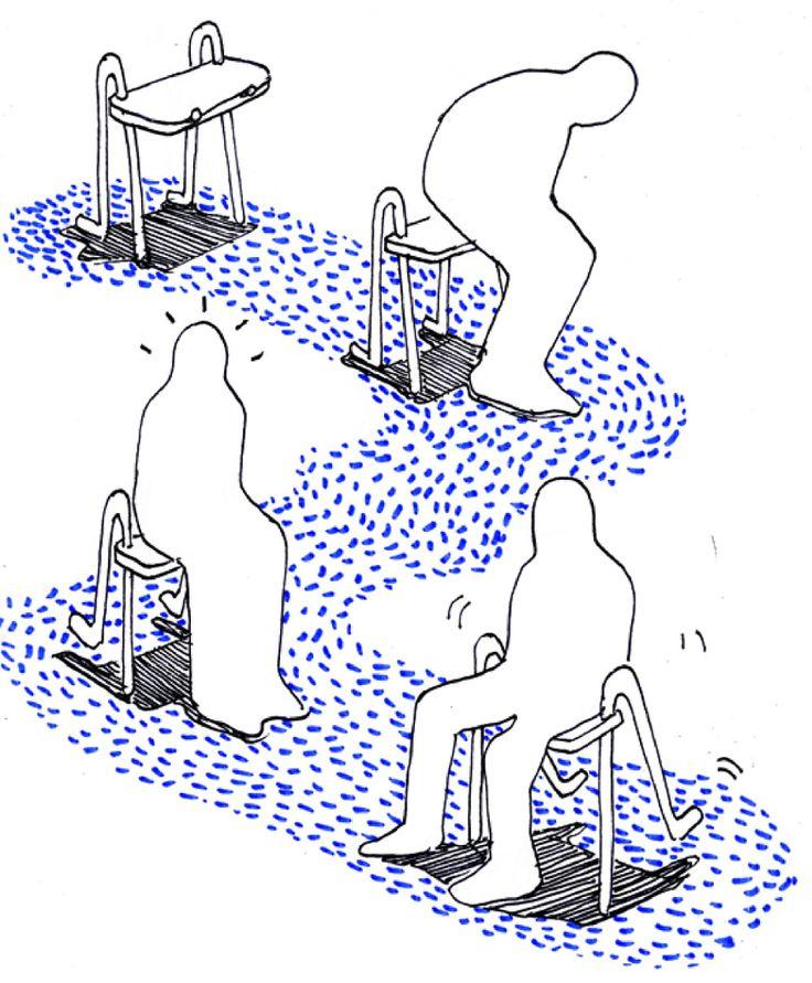 Scénario d'usage:  montrer comment l'utilisateur se sert de l'objet, sans dessiner l'utilisateur mais le suggérer par sa silhouette pour éviter l'excès d'informations. En noir et blanc, le bleu dynamise et établit un chemin de lecture.