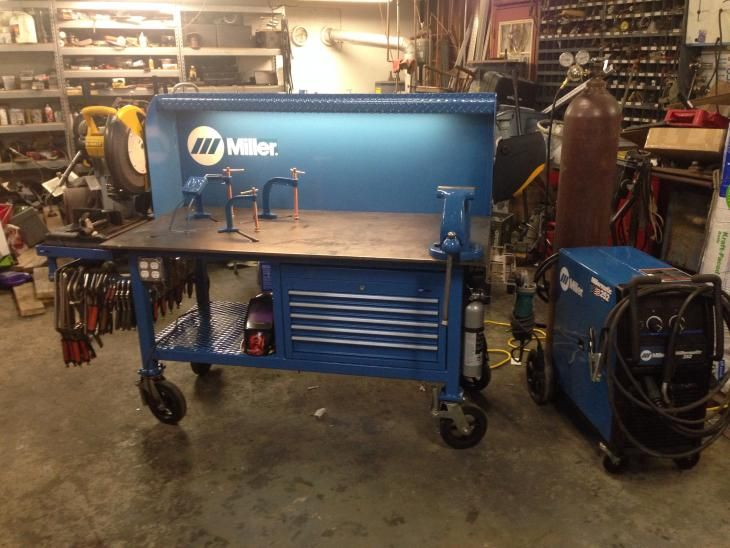 Miller Welding Table: Metal Chop Saw, Vise, Jigging Table, and Clamp Storage