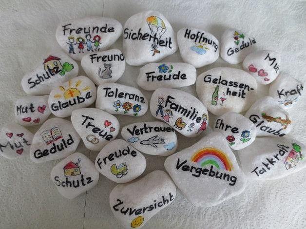 Glückssteine – 10 Wunschsteine Marmorkies weiß, Glückssteine – ein Designerst… – Ideen