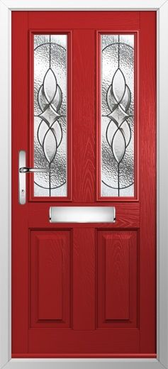 composite door example of 2 panel 2 square in red high quality secure
