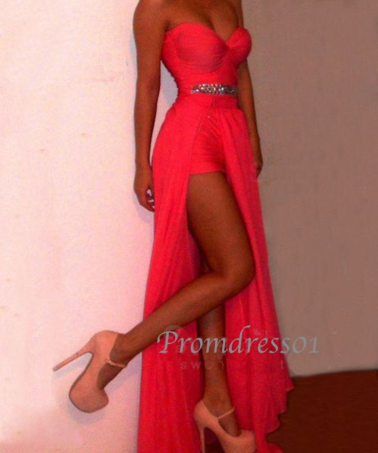 2014 pink sweetheart strapless side slit long chiffon prom dress with sequins, prom gown,ball gown,evening dress, cute dresses for tens #promdress #coniefox #2016prom