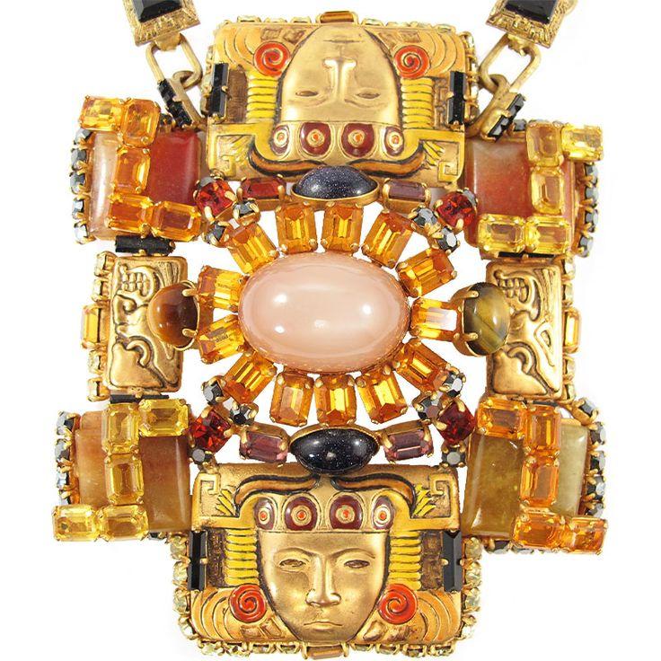 Signed 'Hanna Bernhard Paris' Aztec Style Style Neckpiece