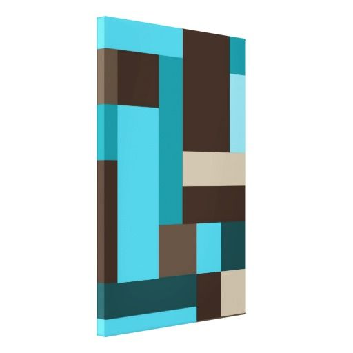 "Turquoise Blue Teal & Brown Geometric Modern Art Canvas Print- My original abstract art and design. A modern art geometric design with shades of turquoise blue, teal, and brown squares & rectangles. This would look great in any contemporary/modern decor. 24"" x 36"", CLICK to view other sizes and prices! www.zazzle.com/turquoise_blue_teal_brown_geometric_modern_art_canvas-192985699289331536?rf=238439466617123422"