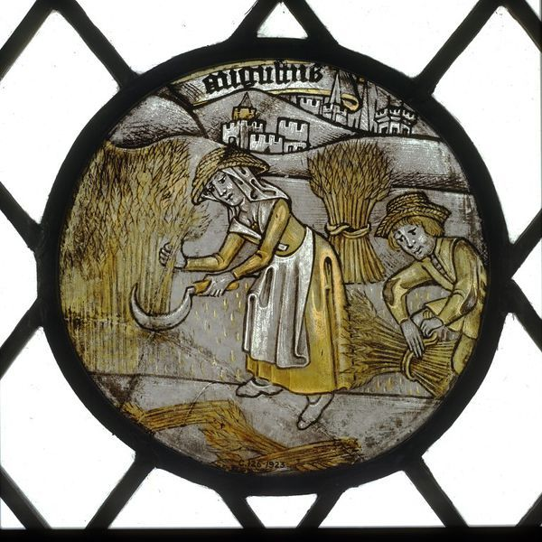 Labours of the Months; Month of August  Object: Panel  Place of origin: England, Great Britain (made)  Date: ca. 1450-1475 (made)  Artist/Maker: Unknown (production)  Materials and Techniques: Clear glass with yellow (silver) stain and details painted in brown pigment.