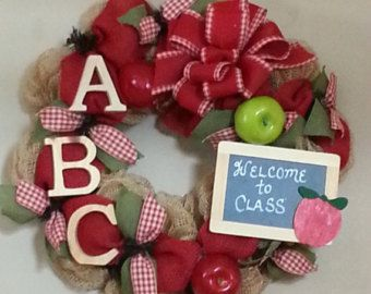 teacher wreath on Etsy, a global handmade and vintage marketplace.