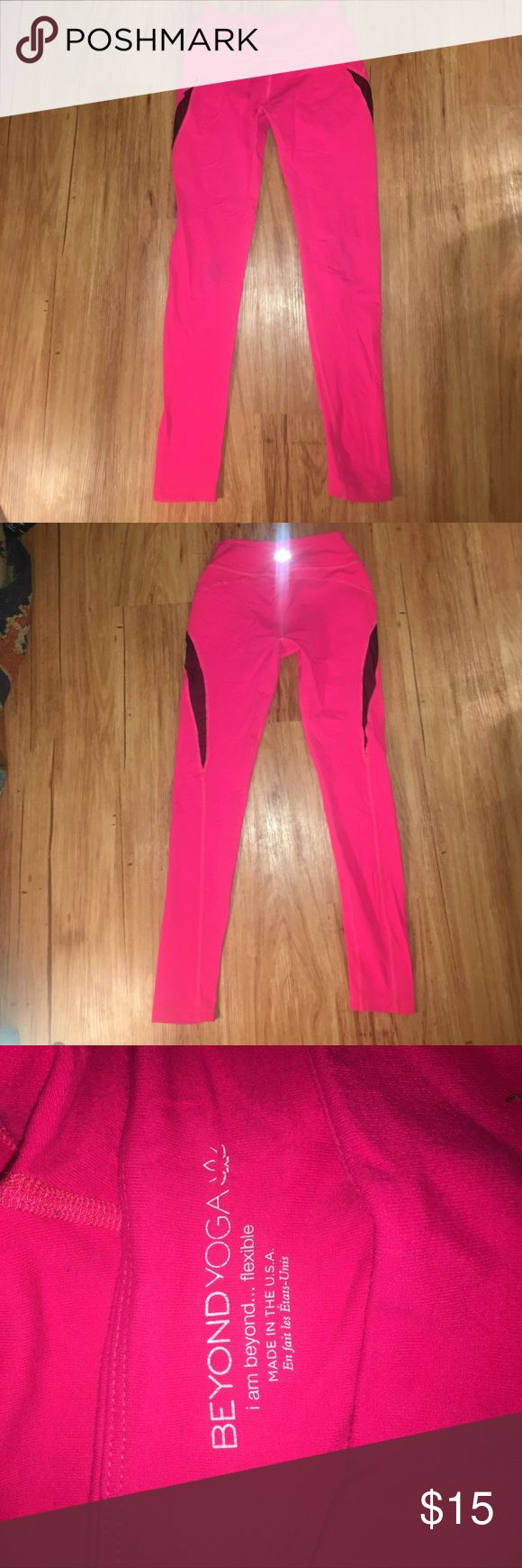 Beyond Yoga pink yoga pants Beyond yoga hot pink yoga pants with black mesh up thigh Beyond Yoga Pants Leggings