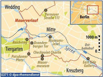 Mauer in Berlin: Wo sie noch steht. - Mauerverlauf - Mehr als 28 Jahre lang teilte die Mauer Ost- und Westberlin. Heute ist von ihr fast nichts mehr zu sehen.