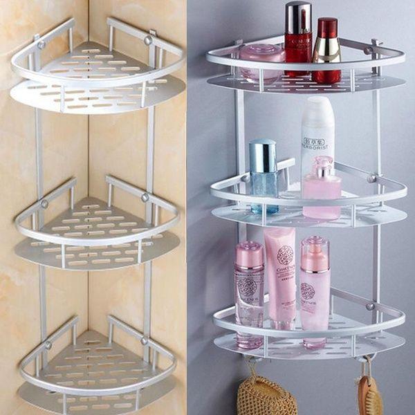 3 Tiers Triangular Shower Caddy Shelf Bathroom Corner Rack Storage Towel Shampoo Basket Hanger Holder In 2020 Bathroom Corner Rack Shelves Storage Spaces