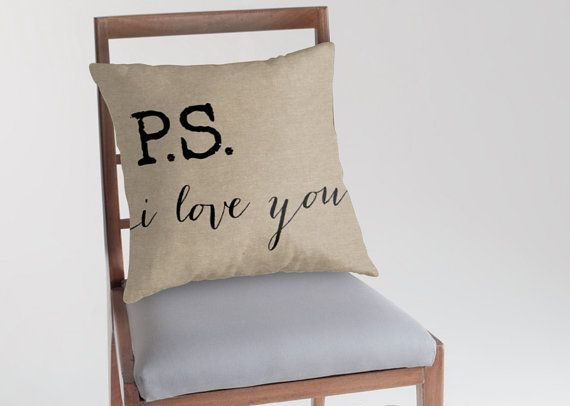 P.S. I love you quote on faux burlap background. The rustic look but with a softer more comfortable feel. Size: Please select from the drop down menu Throw Pillow Cover made from 100% spun polyester poplin fabric, a stylish statement that will liven up any room. Individually cut and