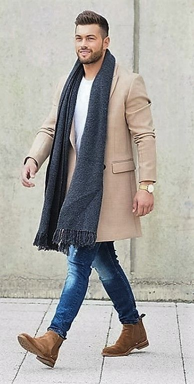 Smart boots perfectly combining with casual jeans and a white t-shirt, overlaid with a dark scarf and neutral coat