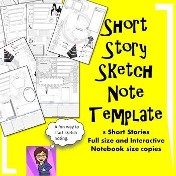 Short Story Sketch Note Template Graphic Organizers 8 Classics