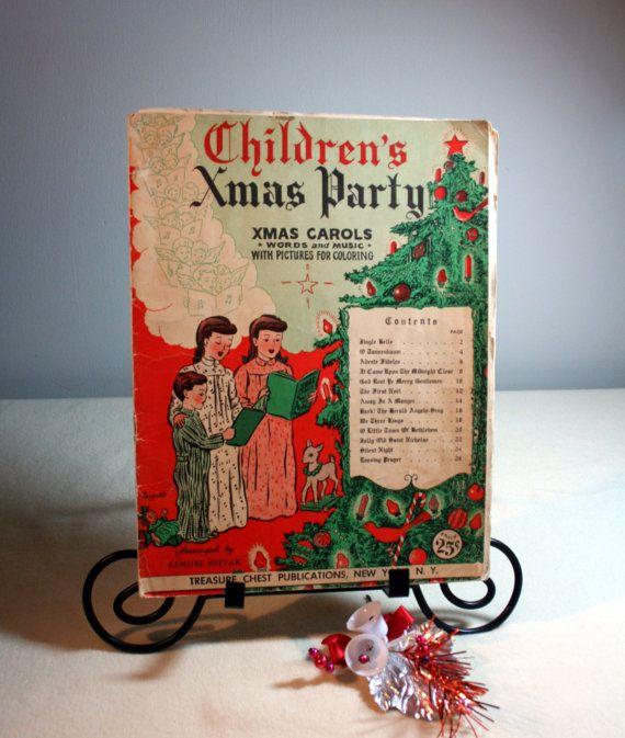 Vintage coloring book of Christmas carols-Children's Xmas Party-Xmas Carols-used