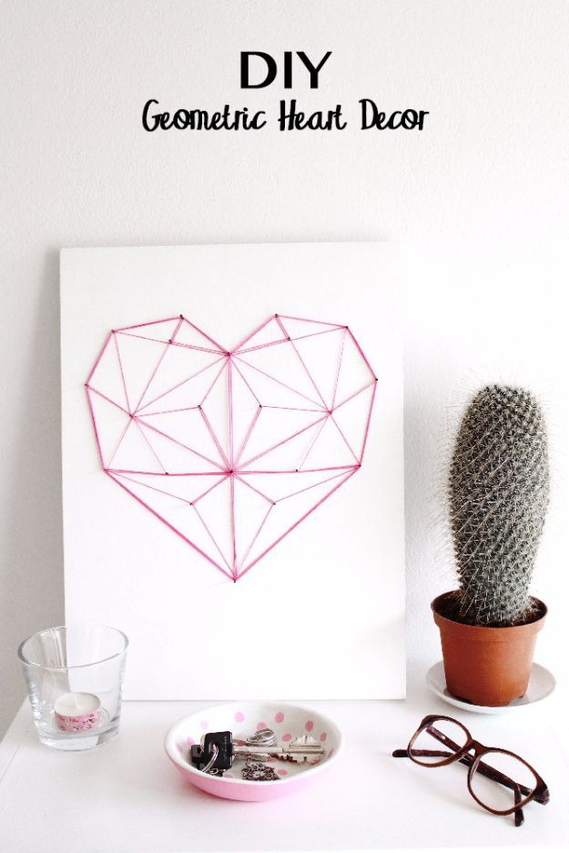 DIY String Art Projects - DIY Geometric String Heart - Cool, Fun and Easy Letters, Patterns and Wall Art Tutorials for String Art - How to Make Names, Words, Hearts and State Art for Room Decor and DIY Gifts - fun Crafts and DIY Ideas for Teens and Adults http://diyprojectsforteens.com/diy-string-art-projects