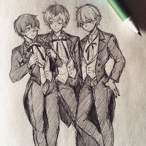Aww, Kuro-Kaneki and Haise look so fancy, then there's Shiro who doesn't give a single shit.