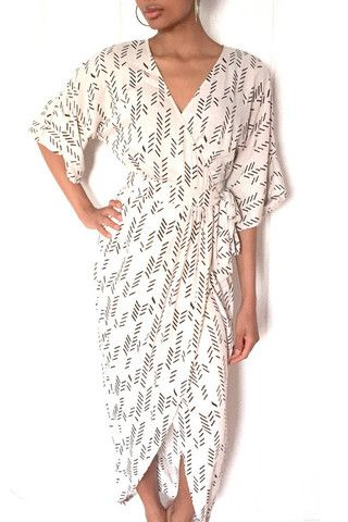 White Kimono Maxi Wrap Dress in Gray Feather