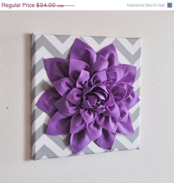 "Wall Decor -Lavender Dahlia on Gray and White Chevron 12 x12"" Canvas Wall Art- Baby Nursery Wall Decor-"