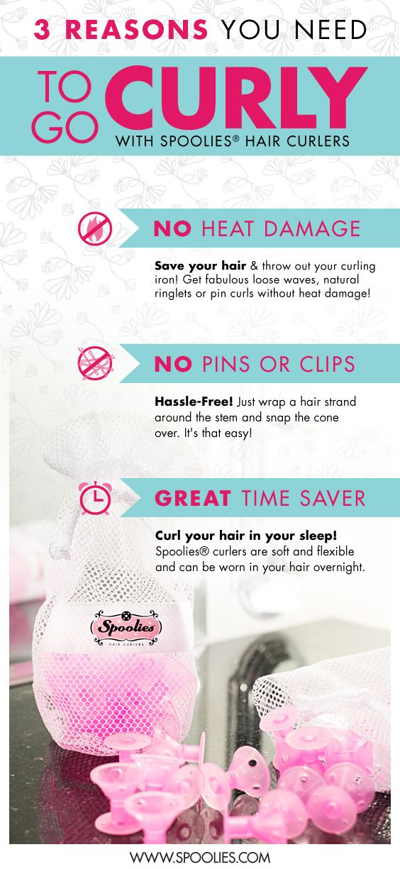3 reasons to ditch that curling iron or wand and embrace fabulous and trendy curly hair with Spoolies Hair Curlers. 1. No heat damage 2. No pins or clips 3. Great time saver, curl your hair in your sleep!