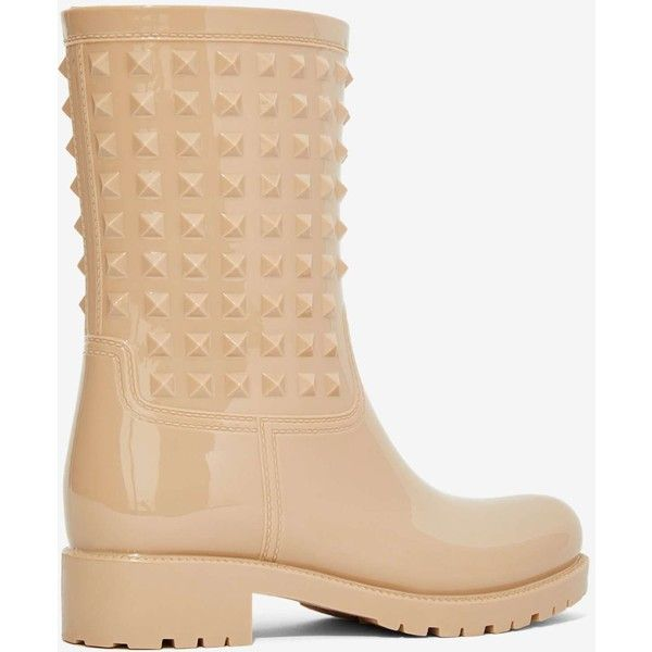Camden Studded Rain Boot ($65) ❤ liked on Polyvore featuring shoes, boots, nude mid heel shoes, wellies boots, polish shoes, shiny boots and studded boots