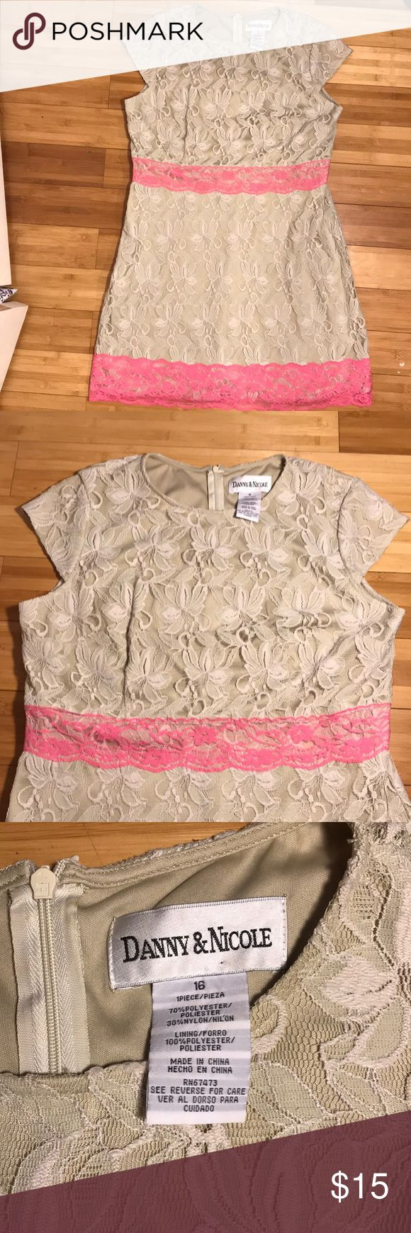 Lace dress Danny & Nicole tan lace dress with hot pink detail. Size 16. Danny & Nicole Dresses