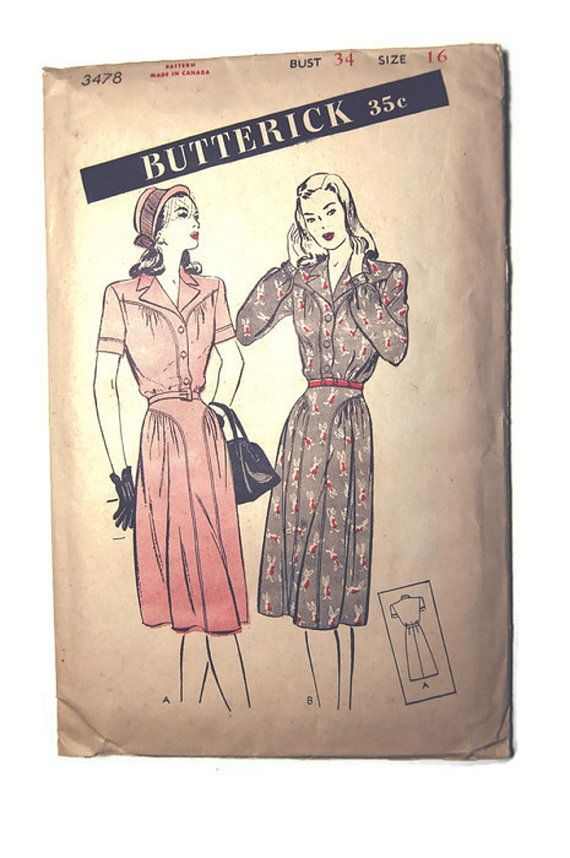 1950's Butterick Pattern 3478  Women's and Misses' by SewSymple