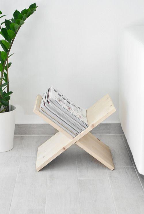 DIY wooden, X-shaped magazine holder