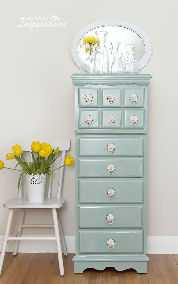 Thrift Store Lingerie Dresser restyled with Annie Sloan Duck Egg Blue | Salvaged Inspirations