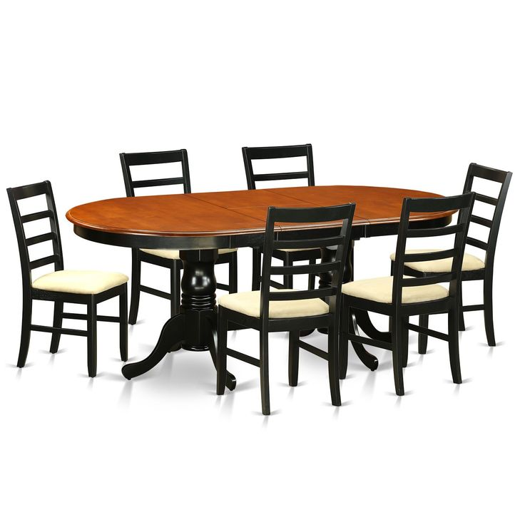 PLPF7-BCH /Cherry 7-piece Dining Room Set Including Dining Table and 6 Wooden Dining Room Chairs
