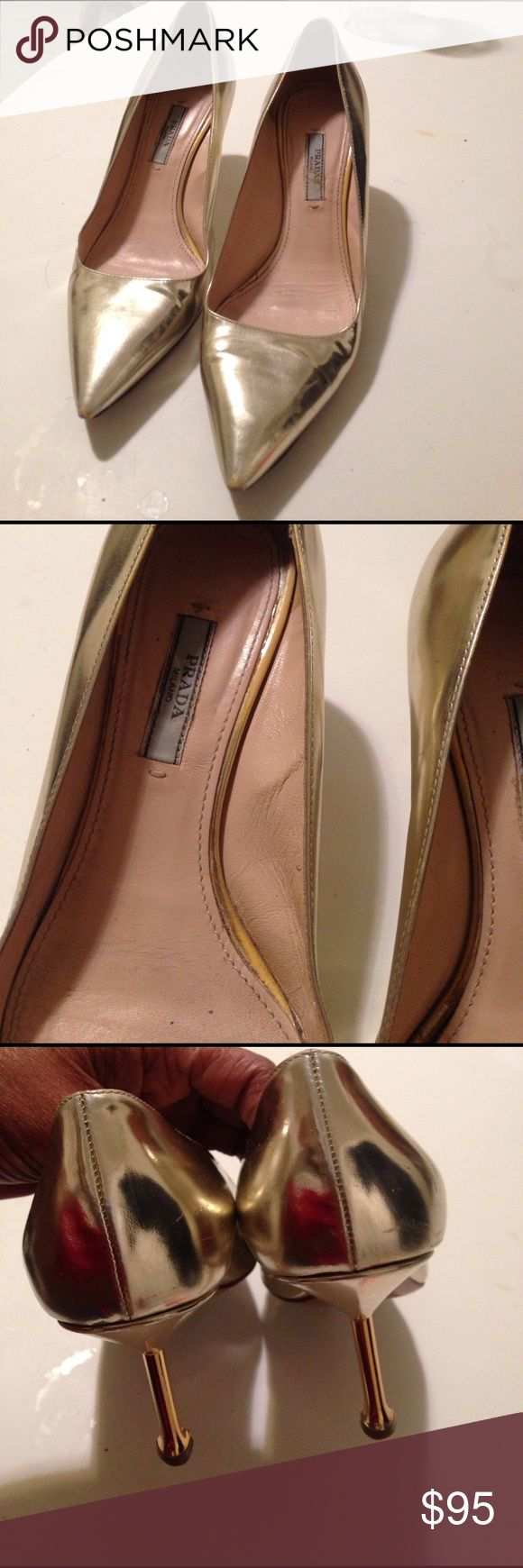 PRADA PUMPS Metallic light gold leather shoes. 2.5' metal plated heels. Leather soles. Signature name on soles. Minor scratches. Wear on toe area. Very stylish sexy & comfy Prada Shoes Heels