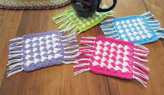 Mug Rug Coaster Set, Handmade Coasters, Crochet Coasters ...
