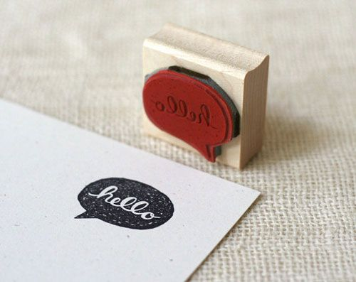 Hello Rubber Stamp by Wit & Whistle