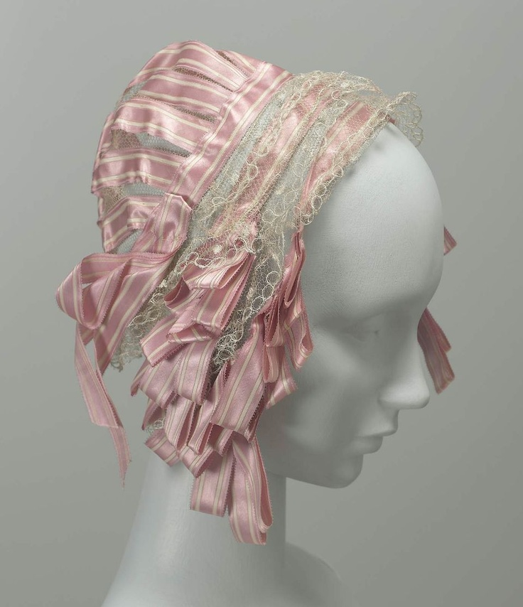 Boston, Massachusetts, USA Cap: mid 19th century, silk net, silk lace, and silk satin ribbon.