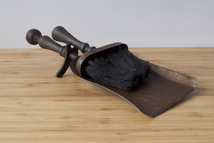 Vintage Rustic Cast Iron Hearth Dustpan and Brush  Ashpan Old Fireplace Accessories Retro  Boho by Route46Vintage on Etsy