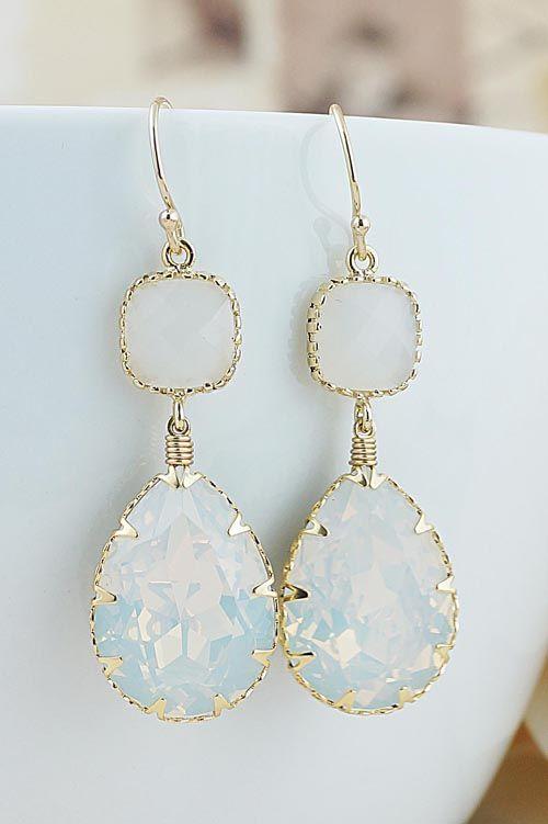 White Opal Swarovski Crystal Earrings from EarringsNation Pastel Weddings
