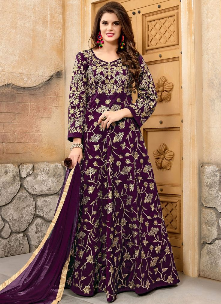 We have an exhaustive range to give you a pleasurable online shopping experience of salwar kameez. Buy this transcendent embroidered, lace and resham work floor length anarkali suit.