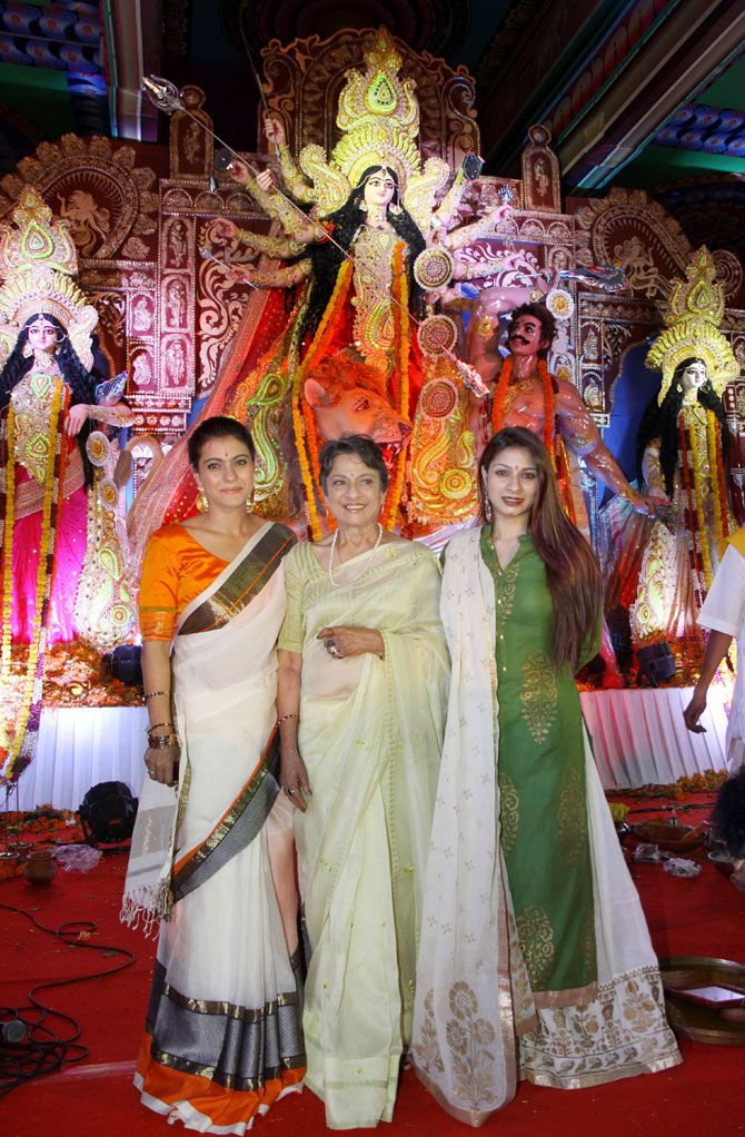 Kajol with mother Tanuja and sister Tanishaa celebrate Durga Puja. #Bollywood #Fashion #Style #Beauty #Hot #Desi #Saree